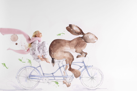 """Runaway Bunny"" 2016 collection for Thread sleep wear, illustration Emma Leonard @ The Jacky Winter Group , Grooming Vic Anderson, Models Bambini Talent group"